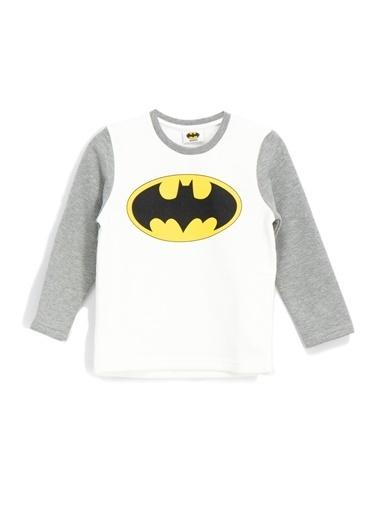 Batman Batman Lisanslı Erkek Çocuk  Sweatshirt Ekru - Melanj Renkli